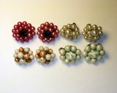 CLEARANCE SALE - Vintage Glass and Crystal Japan Cluster Clip Earrings - 4 pairs  (E-2-1)