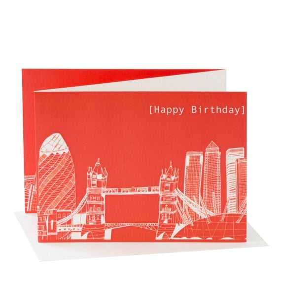 London Skyline, Red Happy Birthday Card