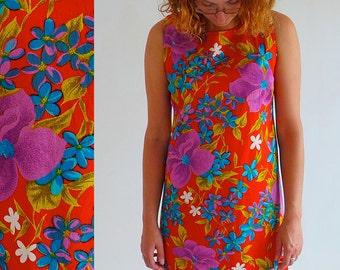 Aloha Authentic Hawaiian Originals. Size UK 14-16. Long Red Vintage Dress.