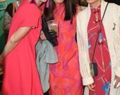 Vintage Fuchsia Geometric Cheongsam Dress