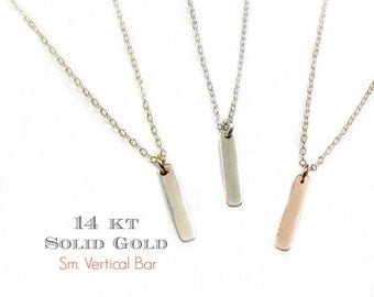 14KT SOLID GOLD Small Vertical Bar Necklace, Dangling Dash Gold Bar Necklace in 14Kt Solid White Gold, Rose Gold and Yellow Gold