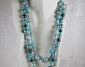 Vintage 1960s Aqua Blue Plastic and Crystal Beaded Two Strand Necklace