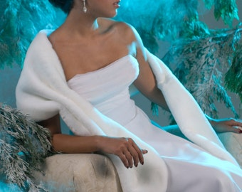 Faux Fur Stole shawl wrap Bride's White Winter Wedding Available in White, Diamond, Black or Cream faux fur beaver