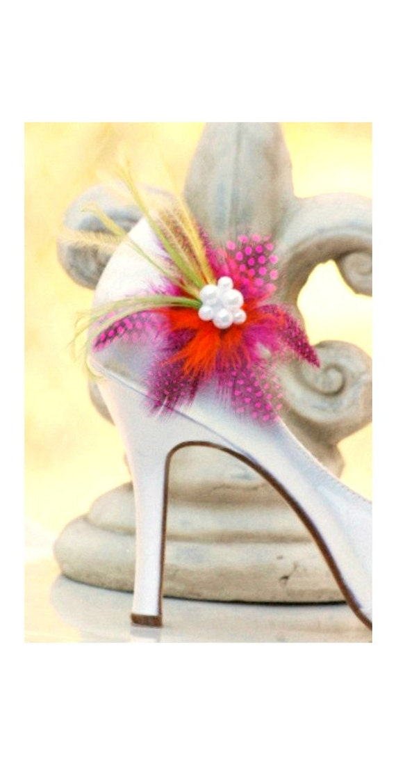 Shoe Clips Fuschia Guinea Feathers. Spring Wedding Flowers White / Ivory Pearls. Big Day Bride Bridal Bridesmaid Pins, Edgy Cheerful Bright