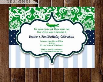 Alligator Invitation, Alligator Birthday Party, Gator Party, Boy Birthday, 1st Birthday, Alligator Party, Preppy Invitation, Preppy Gator