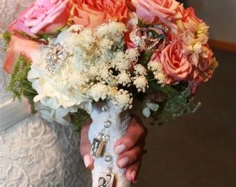 Bridal Bouquet Custom Photo Charm - Double Sided - Pearls & Swarovski Crystals