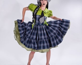 Cute Frankenstein Monster Frankie Zombie Dress  Halloween Costume Gothic Plaid Dress Womens S M L Xl