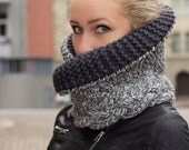 Handmade / Handknitted / Chunky Textured Cowl / Unisex Cowl / Thick and Warm Neck Warmer / Grey / Gray / Blue /