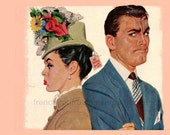 vintage hat fashion illustration my husband is not happy with my hat digital download