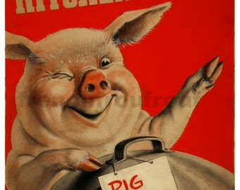 antique poster pig food we want your kitchen waste recycle art poster digital download