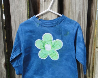 Flower Girls Shirt, Girls Flower Shirt, Green Flower Shirt, Blue Girls Flower Shirt, Kids Flower Shirt, Long Sleeve Girls Shirt (2T)