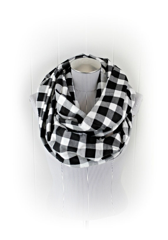 Buffalo Plaid Infinity Scarf, Extra Long Black and White Checked Fashion Loop Cowl Scarf