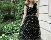 Vintage 1950s Black & Multicolor Embroidered Tulle Prom Party Dress/ AS IS