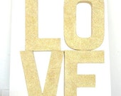 Glittered Love Stand Alone 8 Inch Paper Mache Letters, Wedding Decoration, Gold or Silver Color Choice
