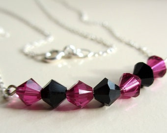 Swarovski Necklace, Pink Crystal Necklace, Pink Beaded Necklace, Black Crystal Necklace, Black Beaded Necklace