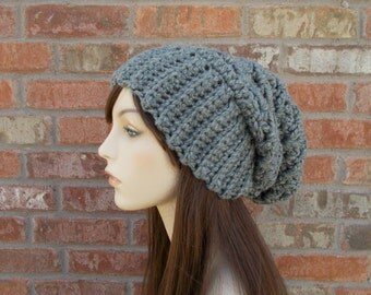 Heather Gray Slouchy Beanie Teenage Girl Gifts Crochet Hat Oversized Beanie Hat for Women Teen Beanies Gray Hat Extra Long Beanie Knit Hat