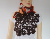 SALE Freeform Crochet  Scarf Shawl / Wearable Art / OOAK