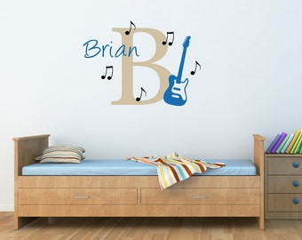 Guitar Wall Decal with Initial & Name - Personalized Name Wall Decal - Music Notes Decal - Large