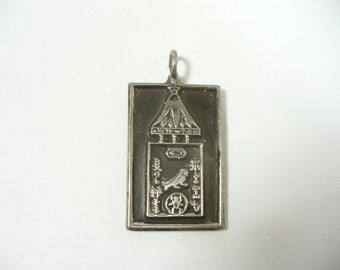 Vintage sterling silver Egyptian hierogliphic cartouche pendant - Artisan hand made - 14.6 grams