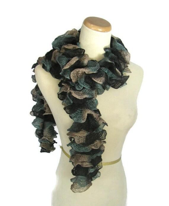 Knit Scarf, Hand Knit Scarf, Teal Scarf, Fiber Art Scarf, Knitted Scarf, Womens Scarf, Fashion Scarf Lacy Scarf, Winter Scarf,