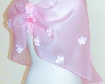 SAKURA cherry blossom Wedding shawl butterfly pink sorbet silk organza white beads capelet ready to ship