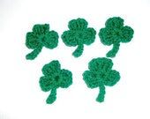 5 Little Crochet Shamrocks - St. Patrick's Day - Applique
