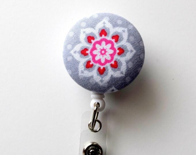 Gray and Pink Flower - Retractable ID Badge Holder - Cute ID Badge Reel - Name Badge Holder - Nursing Badge Clip - Teacher Badge Clip - RN
