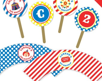 Carnival or Circus Party - Personalized DIY printable cupcake wrapper and topper set