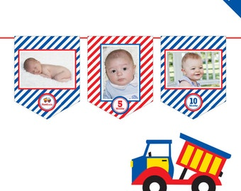INSTANT DOWNLOAD Trucks Party - DIY printable photo banner kit