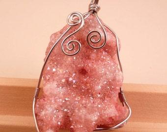 Gemstone Pendant Titanium Crystal Geode Druzy Agate Pendant Pink Geode Pendant Gemstone Bead Pink Pendant Silver Pendant