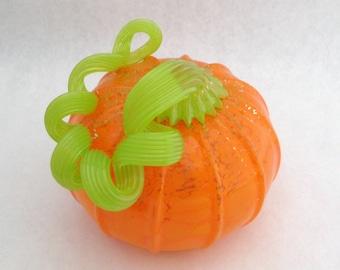 blown glass pumpkin opaque ORANGE with long green stem