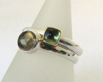 Green Tourmaline in 14K Gold and Sterling Silver Solitaire Stacking Ring size 7.5 READY TO SHIP