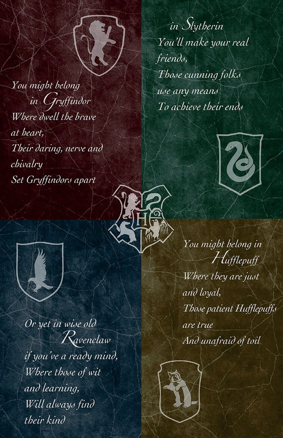 Hogwarts House Poster 11 X 17 Glossy By Androidsheepftw On