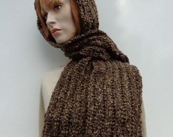 Browns Hooded Scarf - Desert Browns Scoodie - Desert Browns Pixie Hood - Browns Hat and Scarf - Crochet Hooded Scarf