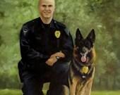 Custom Oil Painting Man and His Dog Heirloom Portrait