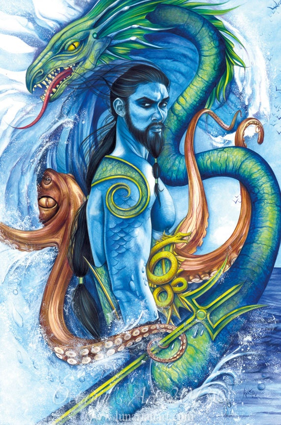 Items Similar To Poseidon Lord Of The Sea Print On Etsy