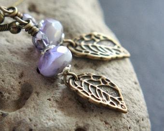 Purple/Lilac Czech Glass Bead Earrings - A.1523