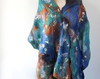 Nuno Felted scarf ,  Dark Blue Purple Brown  Mustard Teal Scarf , Wool Shawl
