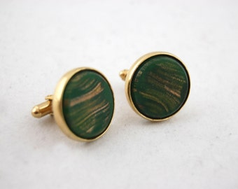 Vintage Green and Gold Cuff Links