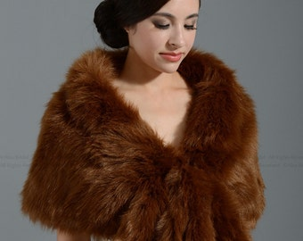 Brown faux fur bridal wrap shrug stole shawl cape A001
