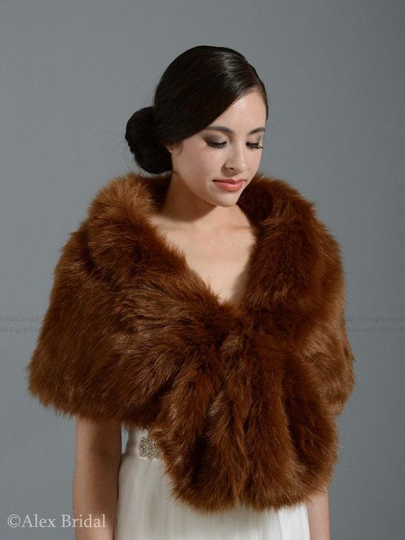 Brown faux fur wrap bridal wrap faux fur shrug faux fur stole - Stoel fur ...