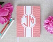 Personalized Hardback Journal | Swiss Dot Pattern | Custom Monogram Notebook | Gift for Her