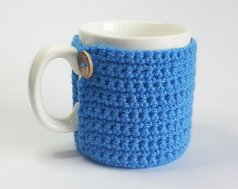 Blue Crochet Mug Cosy With Built in Coaster
