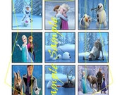 Frozen inspired 1 inch square image sheet, 15 images, scrabble size