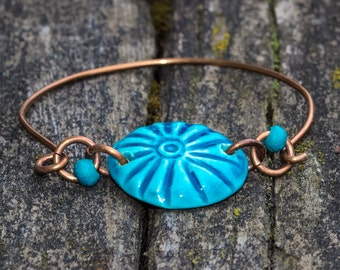 Turquoise Aqua Bracelet, Stackable Blue Ceramic Jewelry, Handmade Beads Copper Bangle, Holiday Gifts for her, Bridesmaid Gift