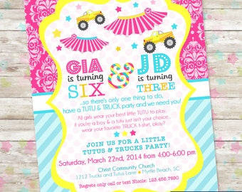Tutus and Trucks Birthday, Printable Party Invitation, Joint Invite, Brother Sister Split Party, Truck Tutu Party, Sibling Birthday