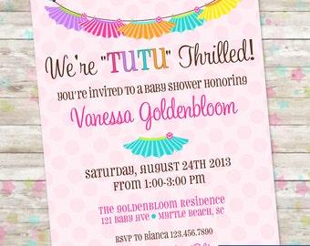 Tutu Thrilled Baby Shower Invite, Baby Girl Shower, Tutu Cute, Colorful, Rainbow Baby Shower Invite, DIY Printable, Baby Girls, Twins