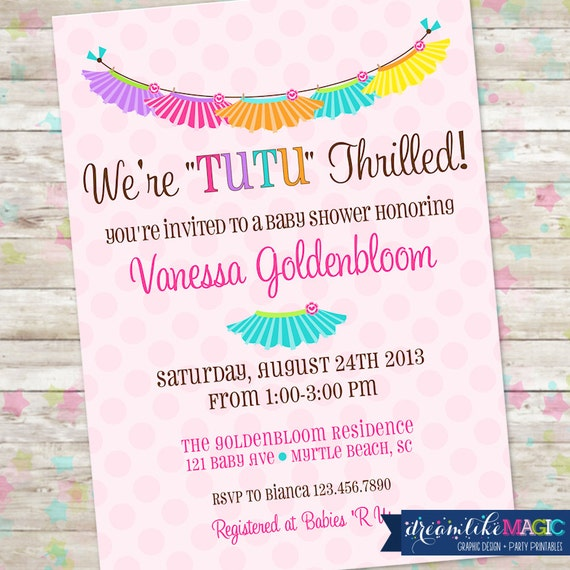Tutu Thrilled Baby Shower Invite, Baby Girl Shower, Tutu Cute, Colorful, Rainbow Baby Shower Invite, DIY Printable, Baby Girls, Twins