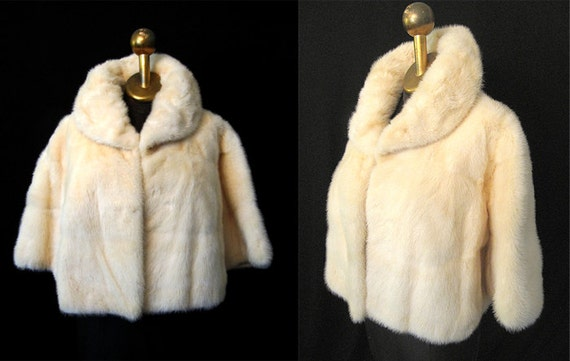 Reserved Lush 1950's Cream Mink Fur Cropped Bolero Jacket Vintage Rockabilly VLV Pinup Vixen Swing Size-Medium