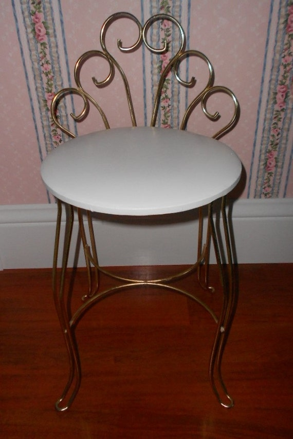 Vintage Scrolly Boudoir Vanity Chair Stool Original White Seat